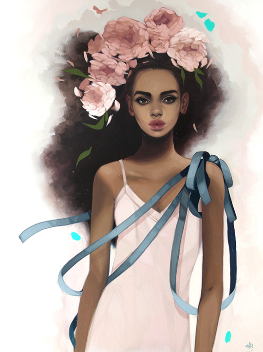 A painting by Kelsey Beckett of a black woman with big pink flowers in her hair, which is large and flowing. She is wearing a white dress with a bunch of blue ribbon on her left shoulder that flows across her body.